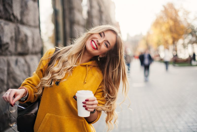Stylish Woman with Coffee