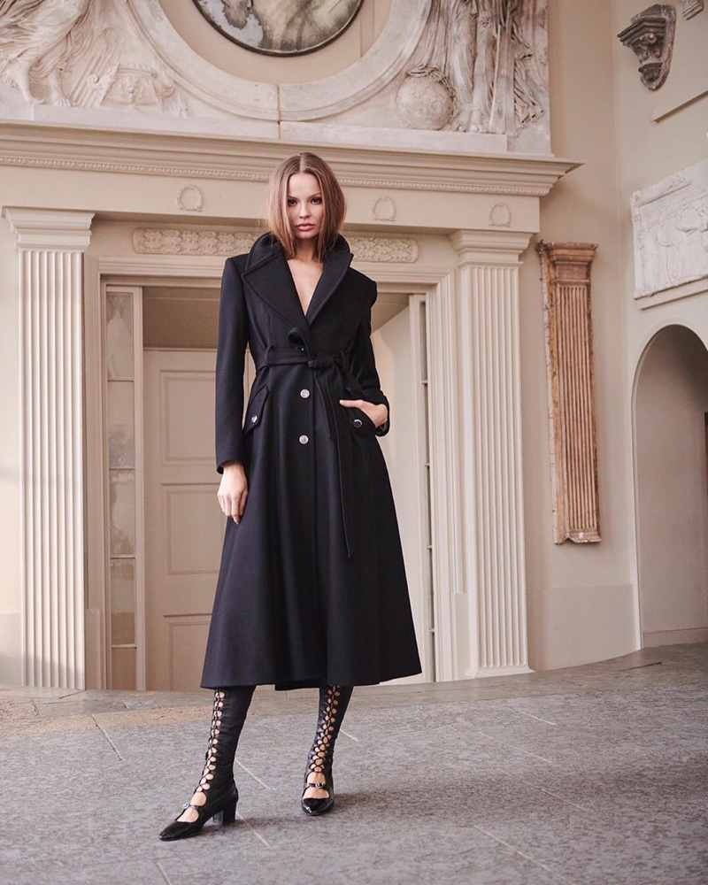 Layering up, Magdalena Frackowiak appears in Temperley London spring 2020 campaign