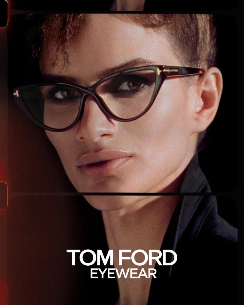 Linda Helena models eyeglasses in Tom Ford spring-summer 2020 campaign