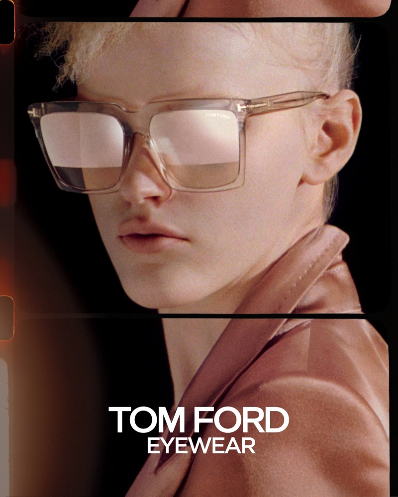 Hannah Motler wears sunglasses in Tom Ford spring-summer 2020 campaign