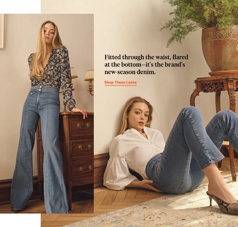 (Left) Veronica Beard Loewell Blouse $395 and Veronica Beard Jean Ember Wide Leg Jeans with Seam Detail $325 (Right) Veronica Beard Aileen Blouse $275 and Taran Mules $350