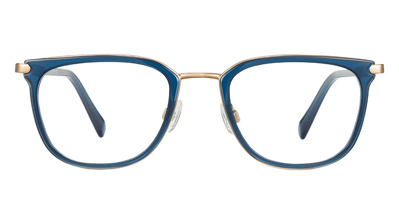 Warby Parker Lovell Glasses in Indigo Crystal with Polished Gold $195