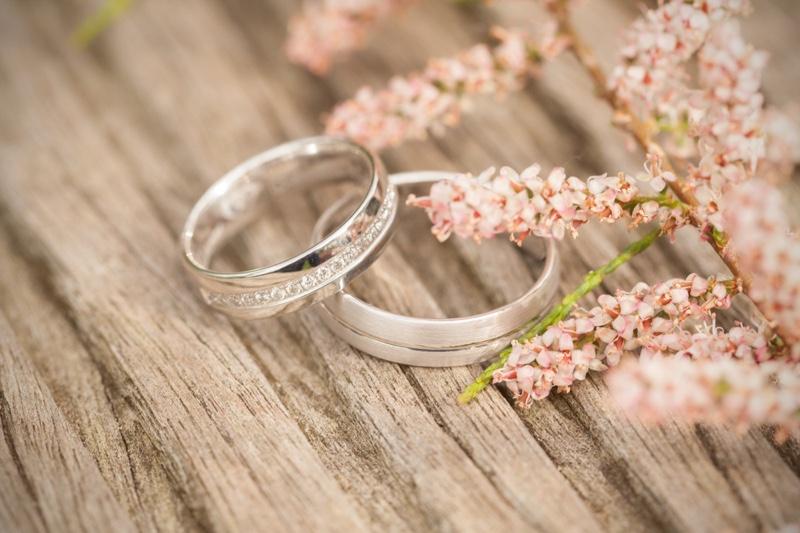 Wedding Rings Still Life Silver Diamonds Flowers