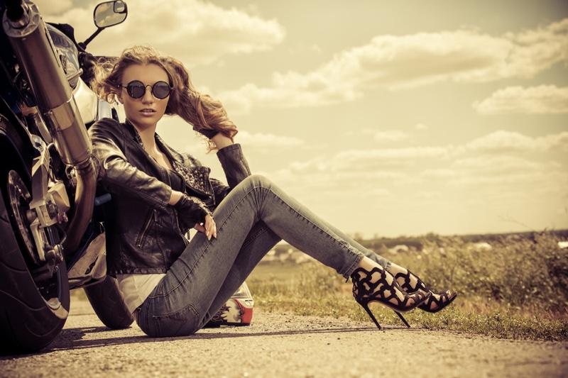 Woman Biker Jacket Denim Heels Motobike