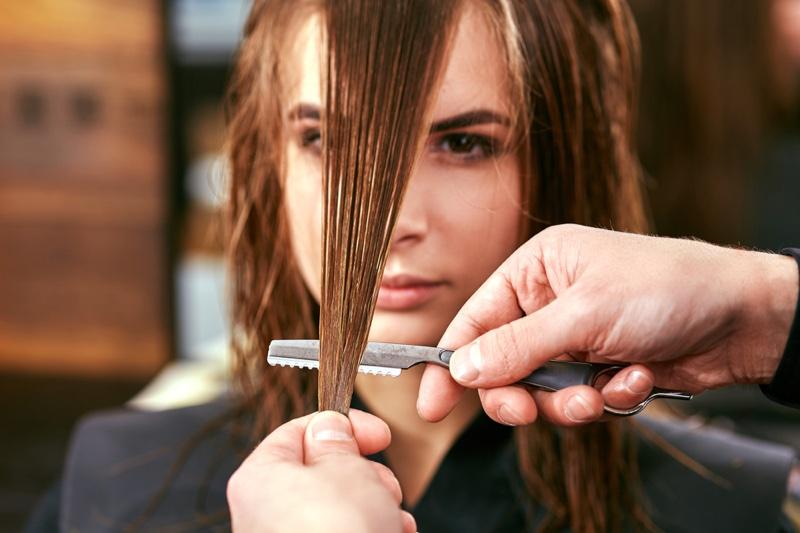 Woman Haircut Salon Wet Hair