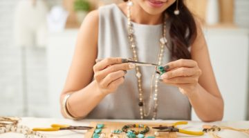 Woman Making Jewelry Gemstones