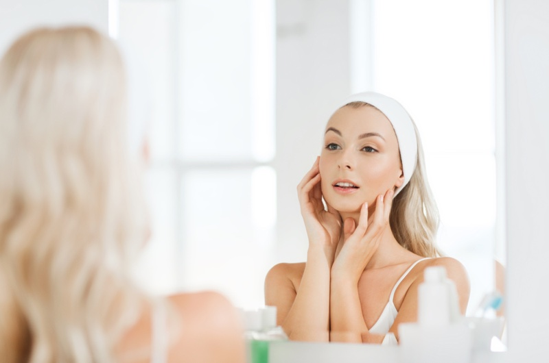 Woman Morning Routine Mirror Face Beauty