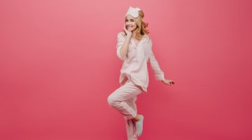 Woman Pink Pajamas Smiling
