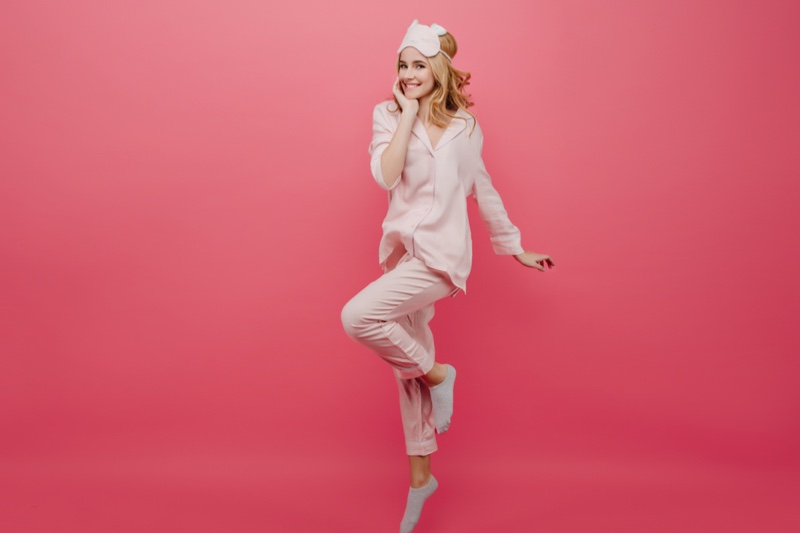 Woman Pink Pajamas Smiling