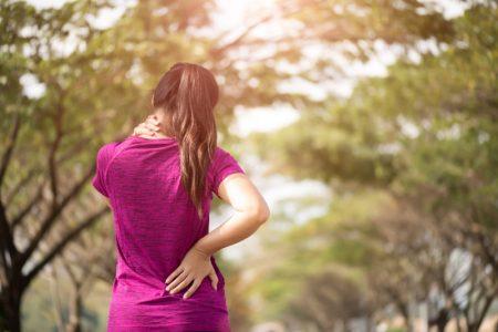 Woman Pink Shirt Neck Pain Back Pain