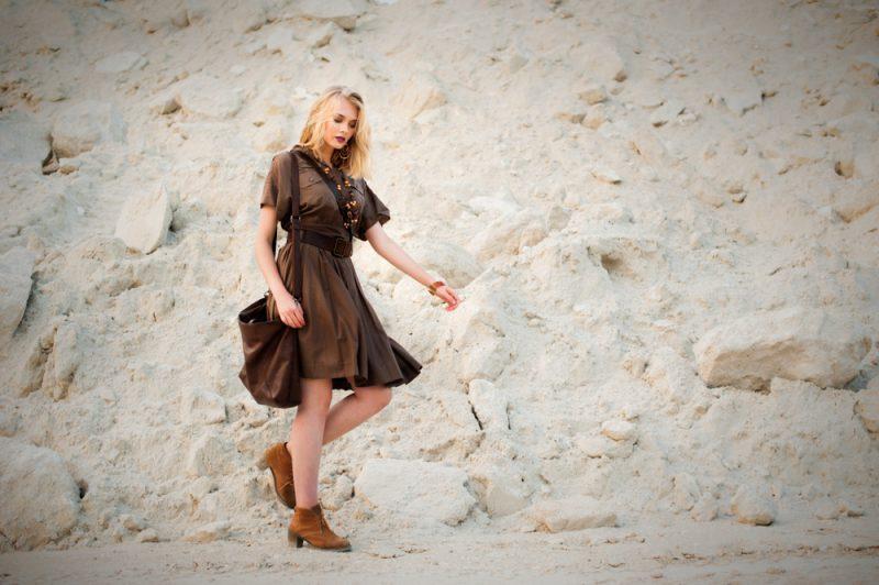 Woman in Brown Safari Dress