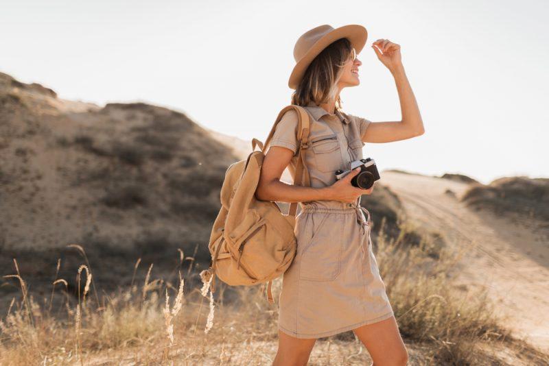 Woman in Chic Safari Look
