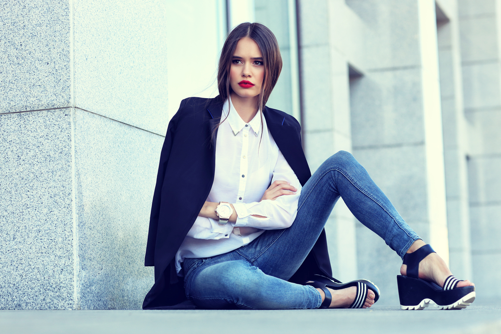 Woman in Jeans and Blazer