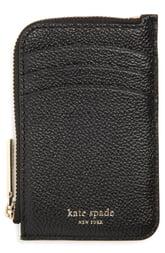 Women's Kate Spade New York Margaux Leather Zip Card Holder - Black