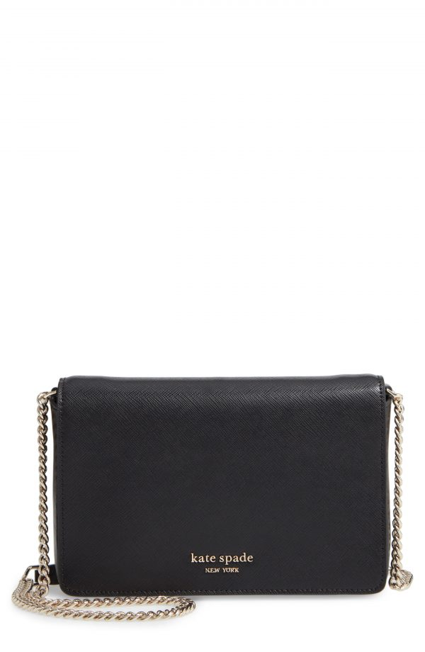 Women's Kate Spade New York Spencer Leather Wallet On A Chain - Black