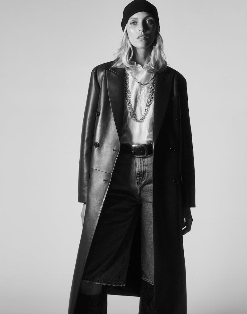 Zara Leather Coat, Embroidered Blouse, ZW Premium '70s Revival Bootcut Jeans and Chain Necklace
