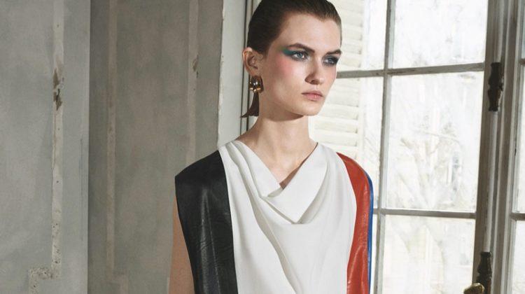 Zara Colorblock Dress and Two-Tone Hoop Earrings