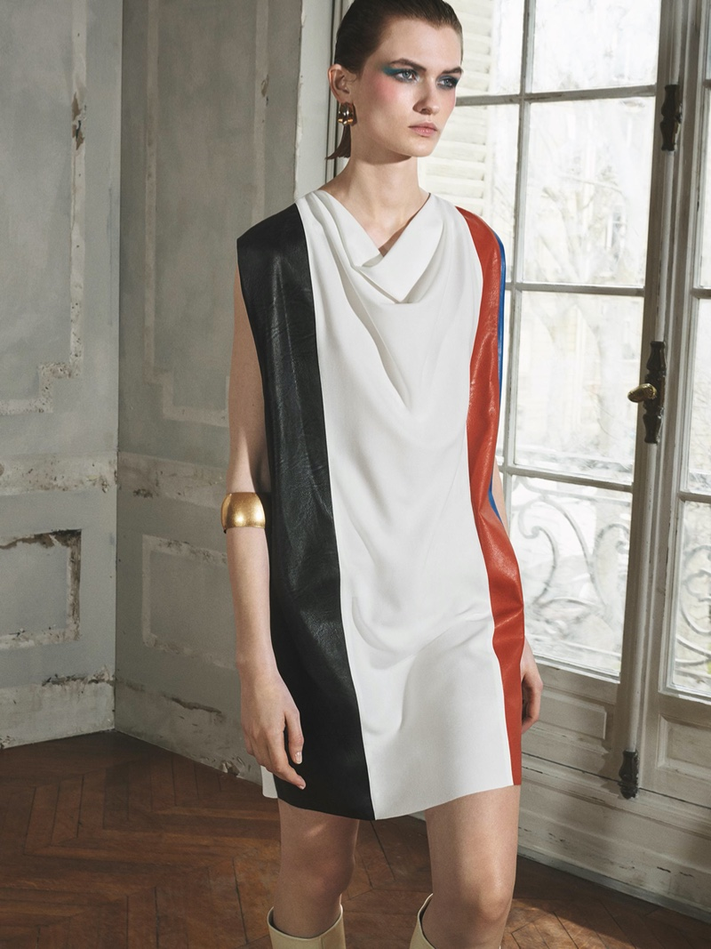Zara Colorblock Dress and Two-Tone Hoop Earrings