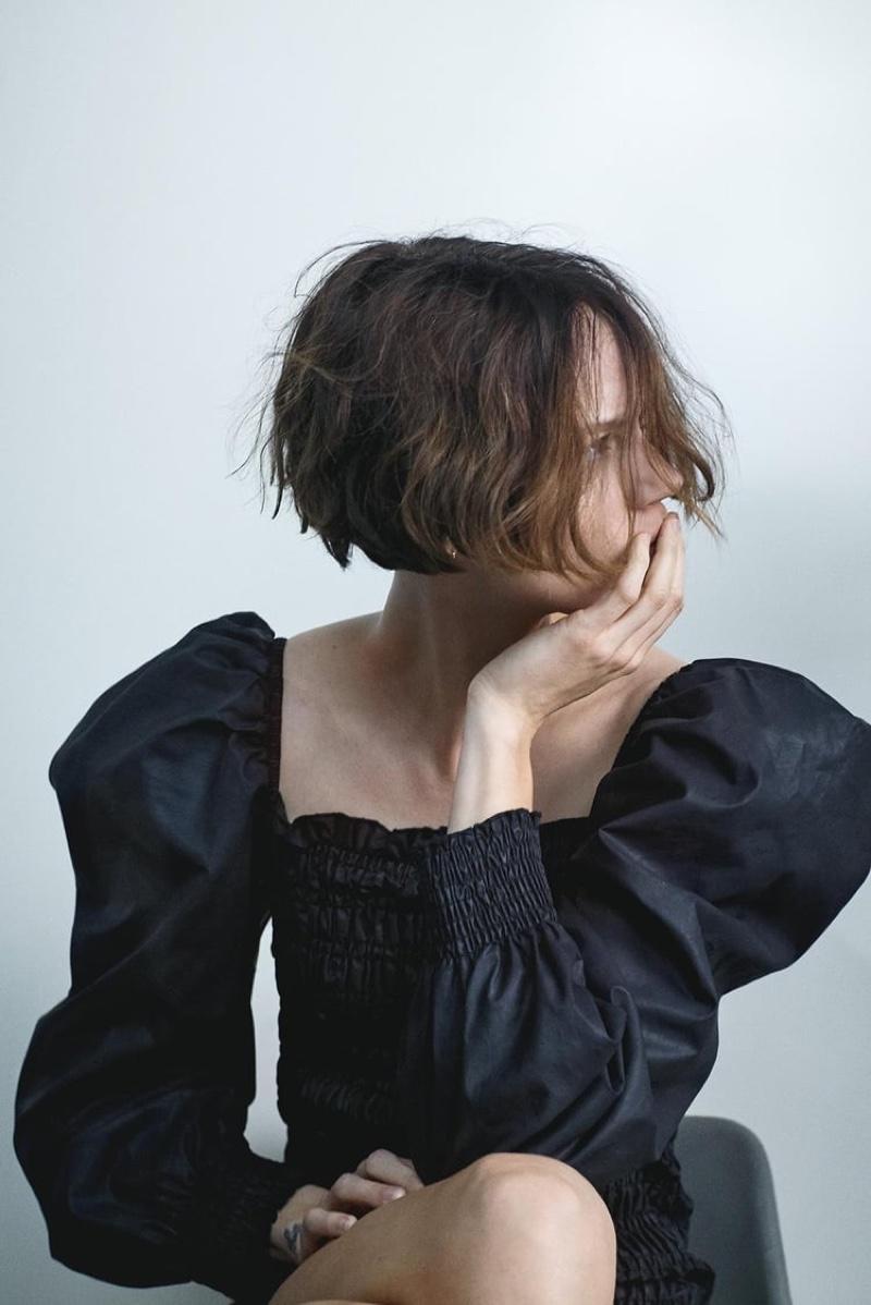 Freja Beha Erichsen models Zara waxed effect dress