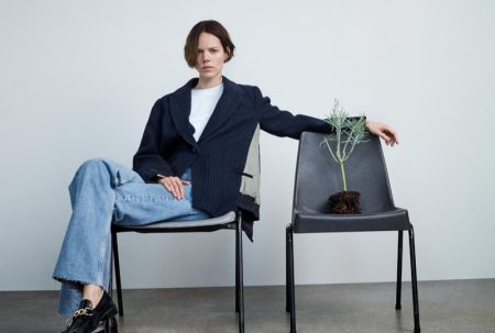 Zara Contrast Bomber Jacket, Washed Effect T-Shirt, ZW Premium '90s Wide Leg Jeans and Leather Loafers