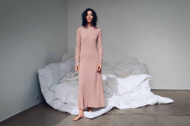 Zara Smocked Detail Knit Dress