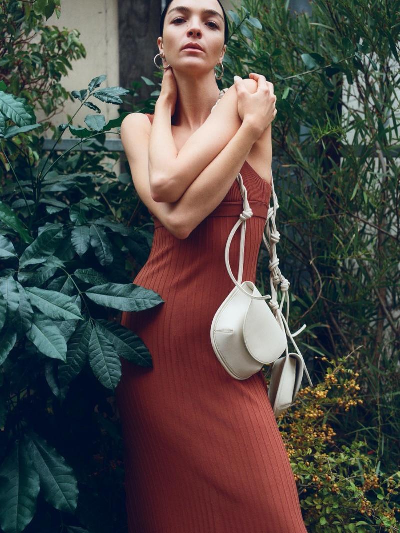 Zara Long Knit Dress, Strappy Knit Top, Oval Leather Crossbody Bag and Medium Hoop Earrings