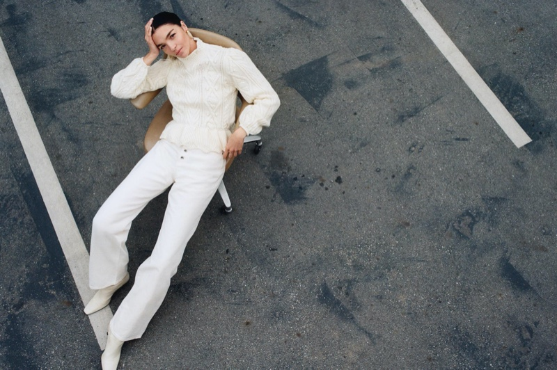 Dressed in white, Mariacarla Boscono fronts Zara Awakening Collection spring-summer 2020 editorial