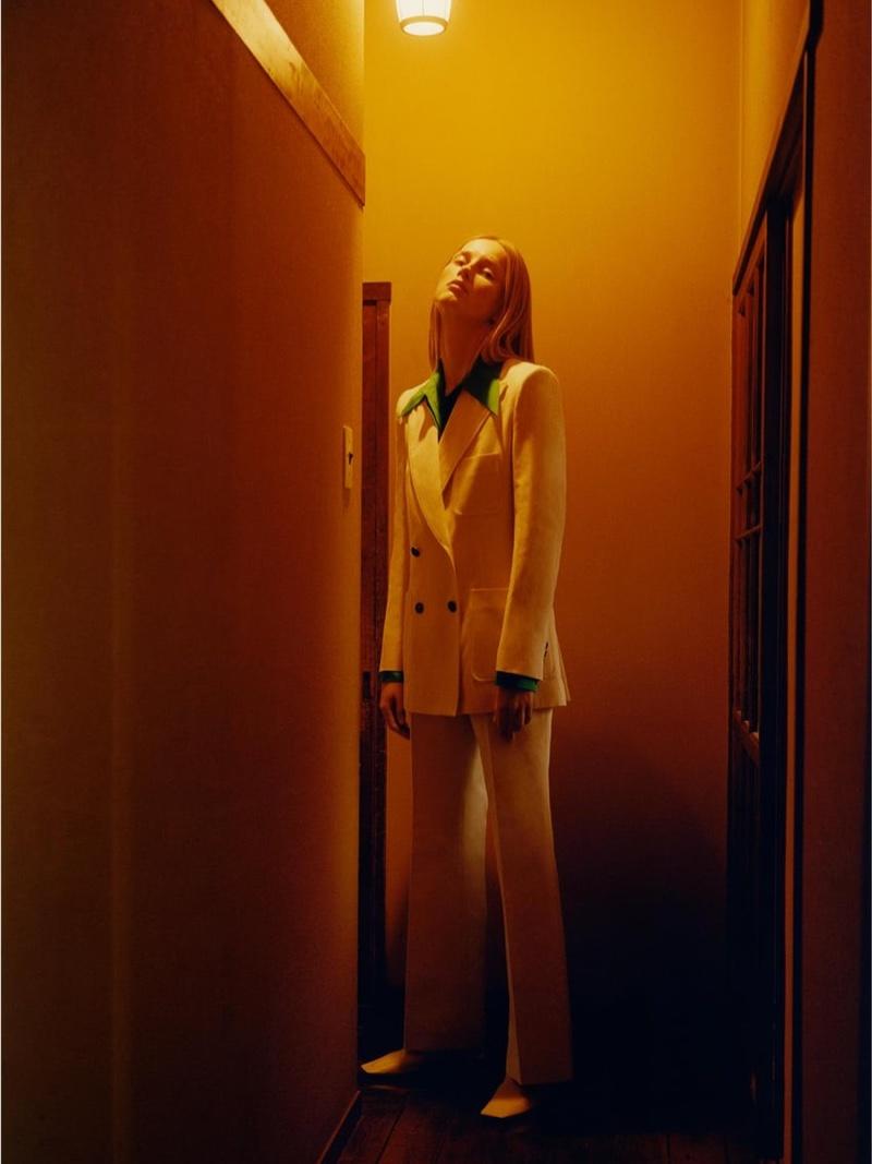 Suiting up, Rianne van Rompaey appears in Zara Crossover spring-summer 2020 editorial