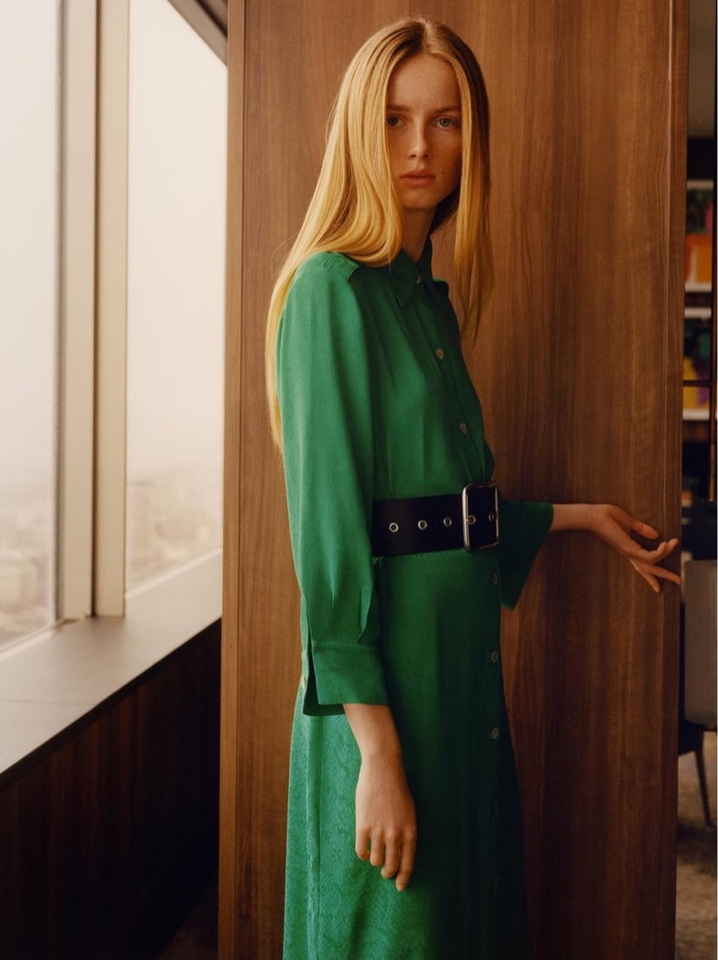 Rianne van Rompaey poses in Zara jacquard shirt dress and wide studded belt