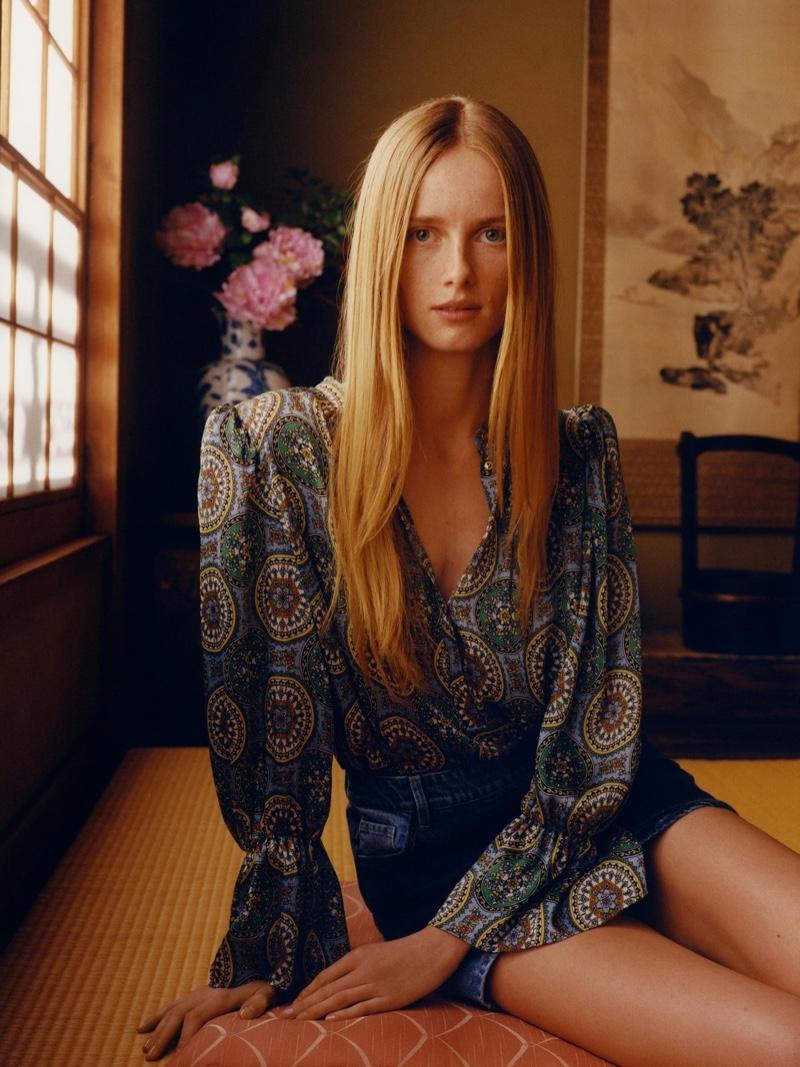Model Rianne van Rompaey tries on Zara's spring 2020 style