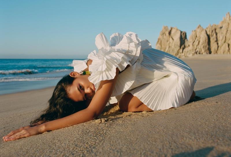 Zara Pleated Ruffled Dress