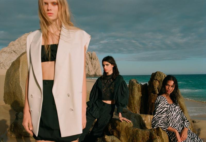 Evie Harris, Irene Guarenas and Jordan Daniels pose in Zara Daylight spring-summer 2020 editorial