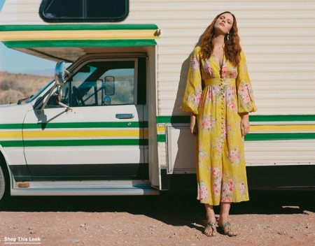Zimmermann Zinnia Button Front Long Dress $695, Island Drop Statement Earrings $110 and Braided Sandals $375