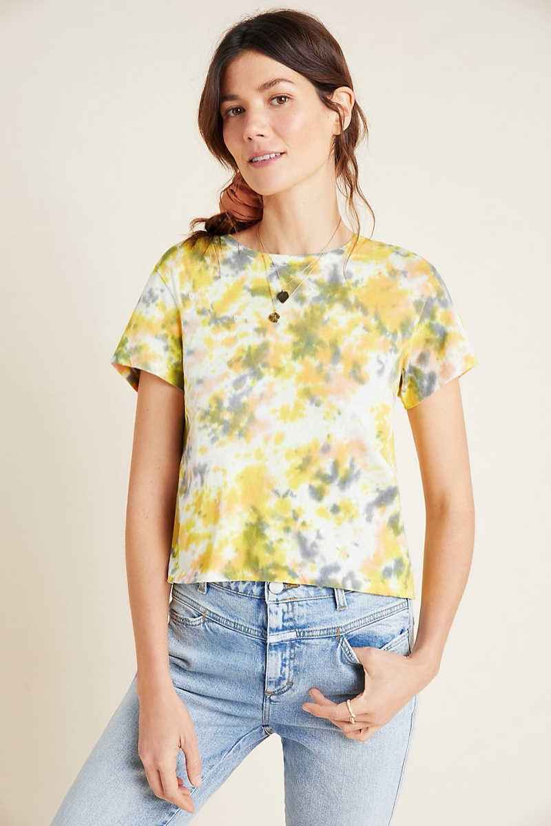 AGOLDE Linda Tie-Dyed Tee in Yellow $108