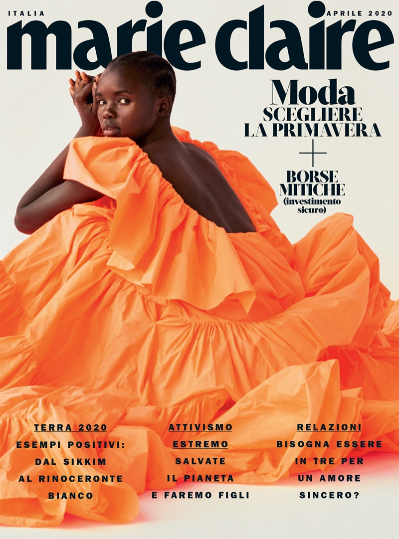 Akiima Poses in Vibrant Fashions for Marie Claire Italy