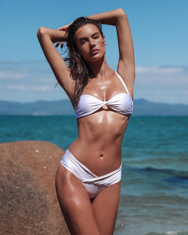 Model Alessandra Ambrosio wears Wave bikini from Gal Floripa