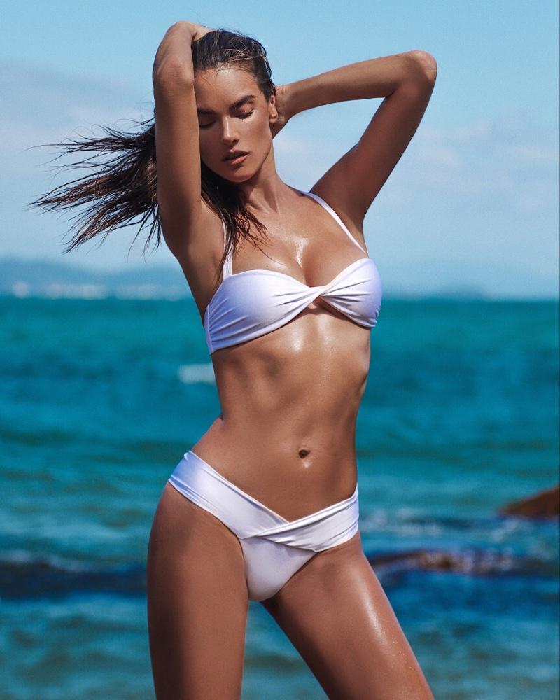 Flaunting her figure, Alessandra Ambrosio models Gal Floripa designs