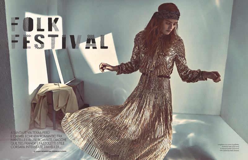 Alexina Graham Embraces Bohemian Ensembles for ELLE Italy