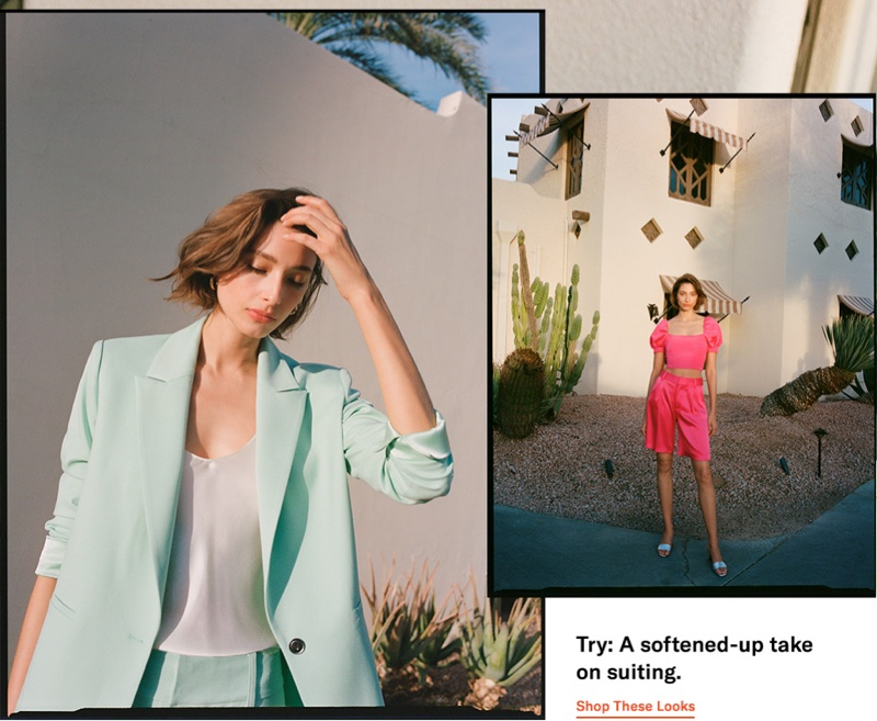 (Left) alice + olivia Denny Notch Collar Blazer  $440 and Nili Lotan Isabella Cami Top $295 (Right) alice + olivia Joslyn Puff Sleeve Cropped Top $295 and Simon Miller Solo Heel Slides $390