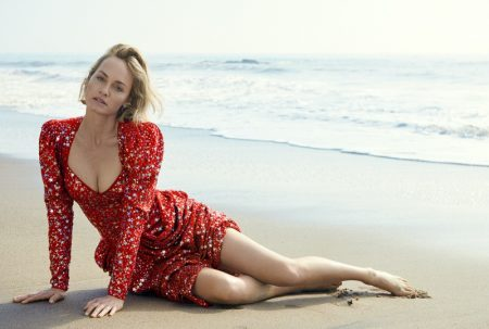 Amber Valletta Poses in Sequins at the Beach for C Magazine