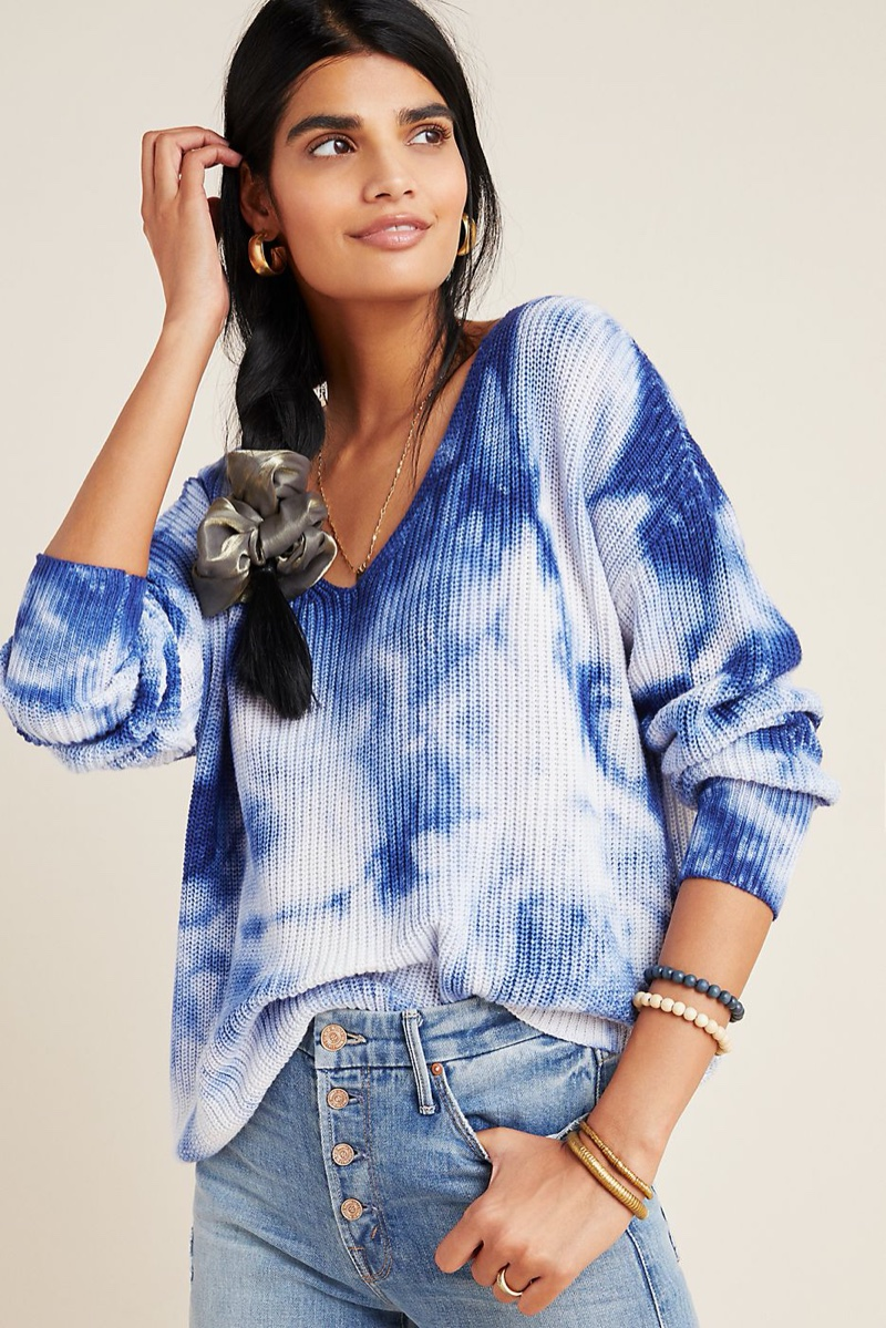 Anthropologie Gracie Tie-Dyed V-Neck Sweater $118