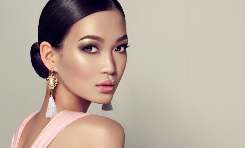 Asian Model Beauty Fringe Earrings Beauty Makeup