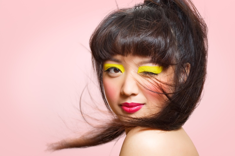 Asian Model Colorful Makeup Beauty Yellow Eyeshadow Pink Lips