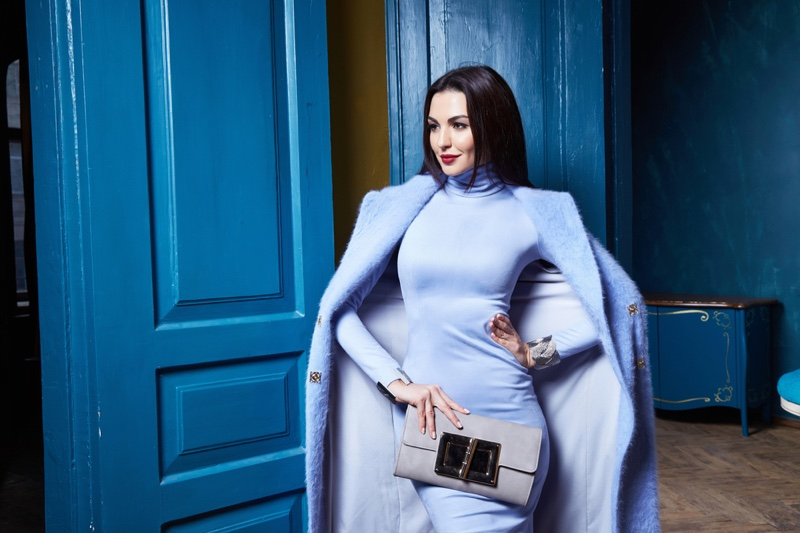 Attractive Woman Blue Outfit Coat Dress Bag