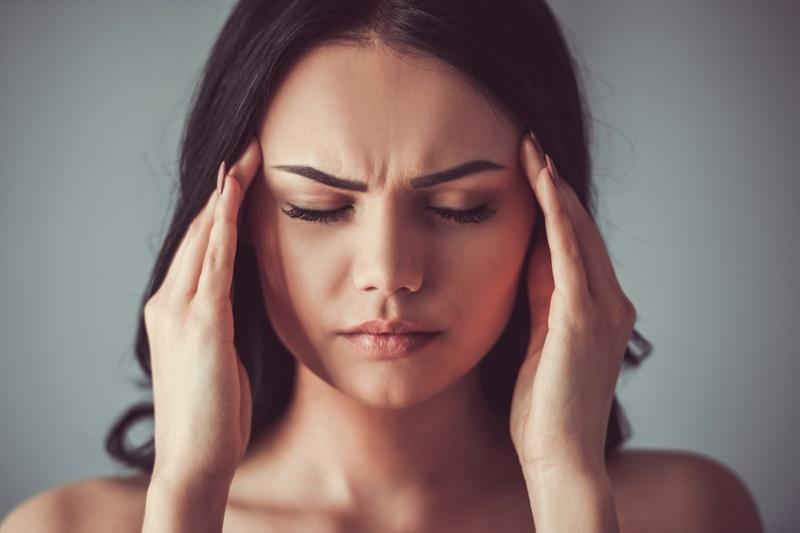 Attractive Woman Closeup Face Stress Hands Temple
