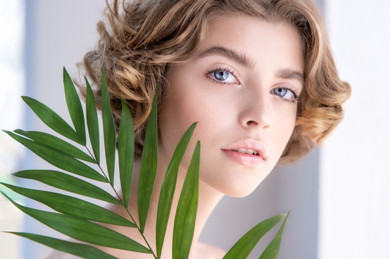 Beautiful Young Woman Clear Skin Short Hair Leaves