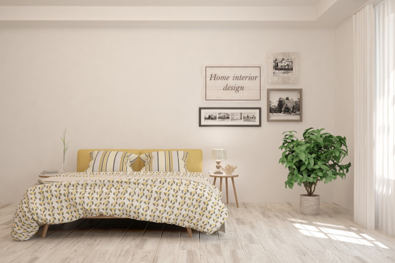 Bedroom Interior Design Plant Yellow Color Palette
