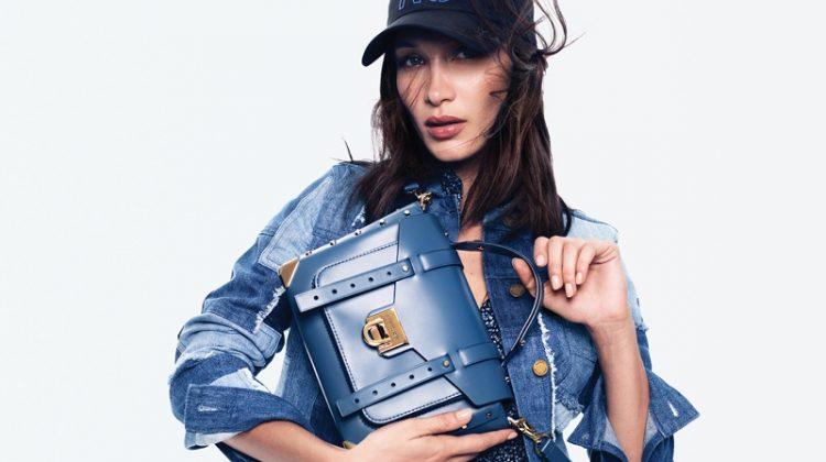 Model Bella Hadid poses in denim for MICHAEL Michael Kors spring-summer 2020 campaign