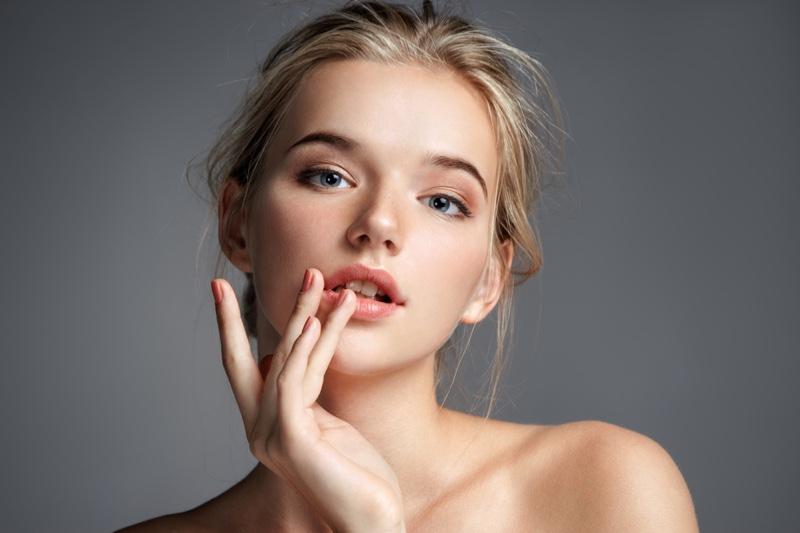 Blonde Model Beauty Glowing Skin