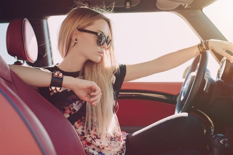 Blonde Model Car Floral Top Sunglasses Driving